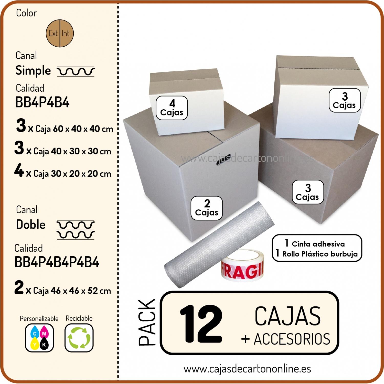 abb44194e Pack de 12 Cajas de Cartón + ACCESORIOS.